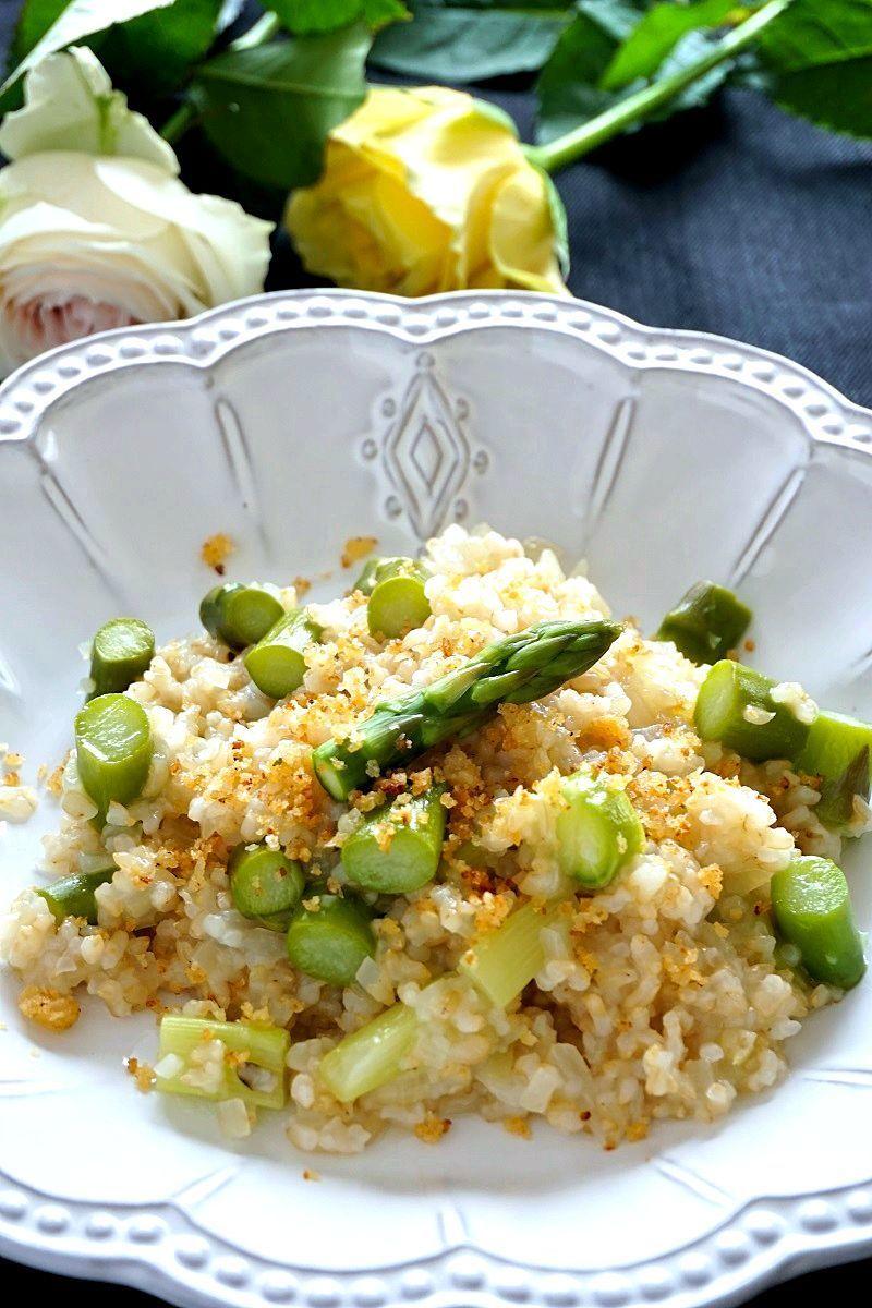 グリーンアスパラの玄米リゾット