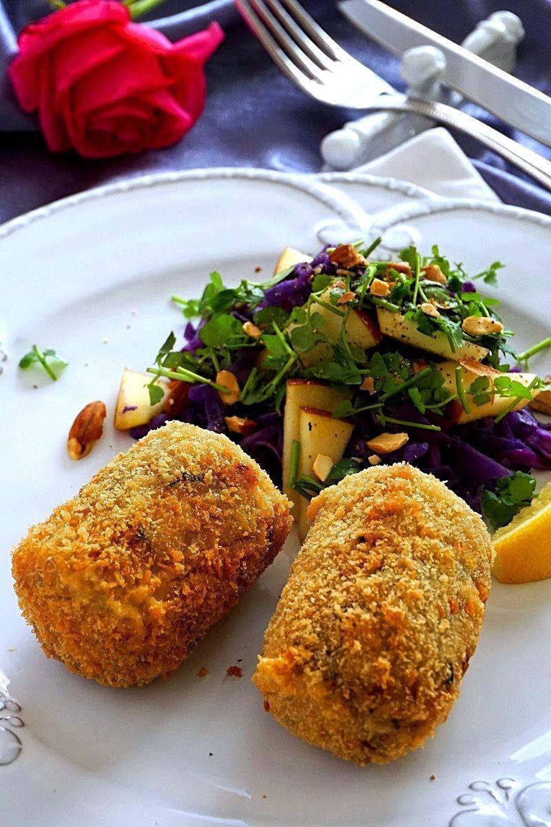 里芋と大豆ミートのクロケット 紫キャベツのコントルノ
