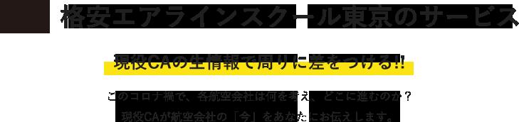 格安エアラインスクール東京のオプションサービス 現役CAの生情報で周りに差をつける!! このコロナ禍で、各航空会社は何を考え、どこに進むのか?現役CAが航空会社の「今」をあなたにお伝えします。