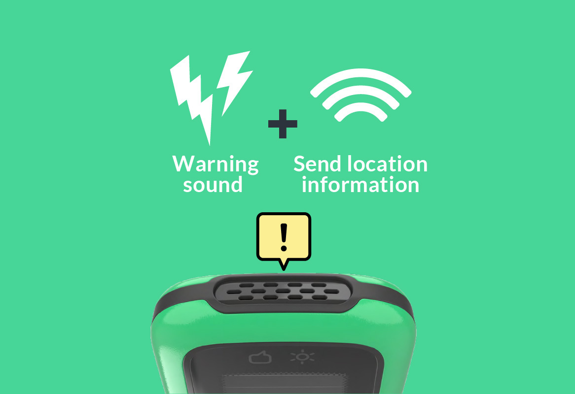 Warning sound and Send location information