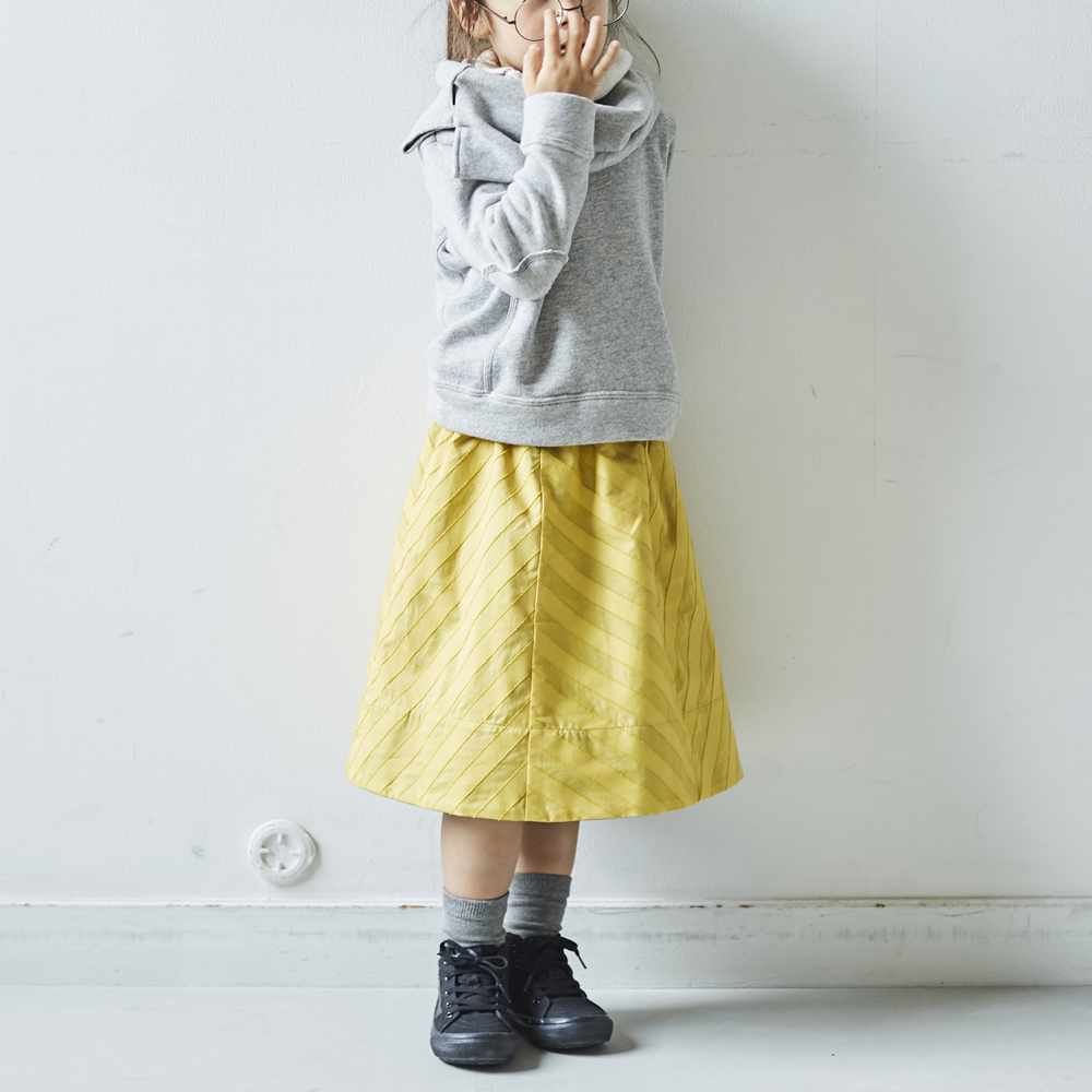 2-way gathered skirt(yellow×indigo)