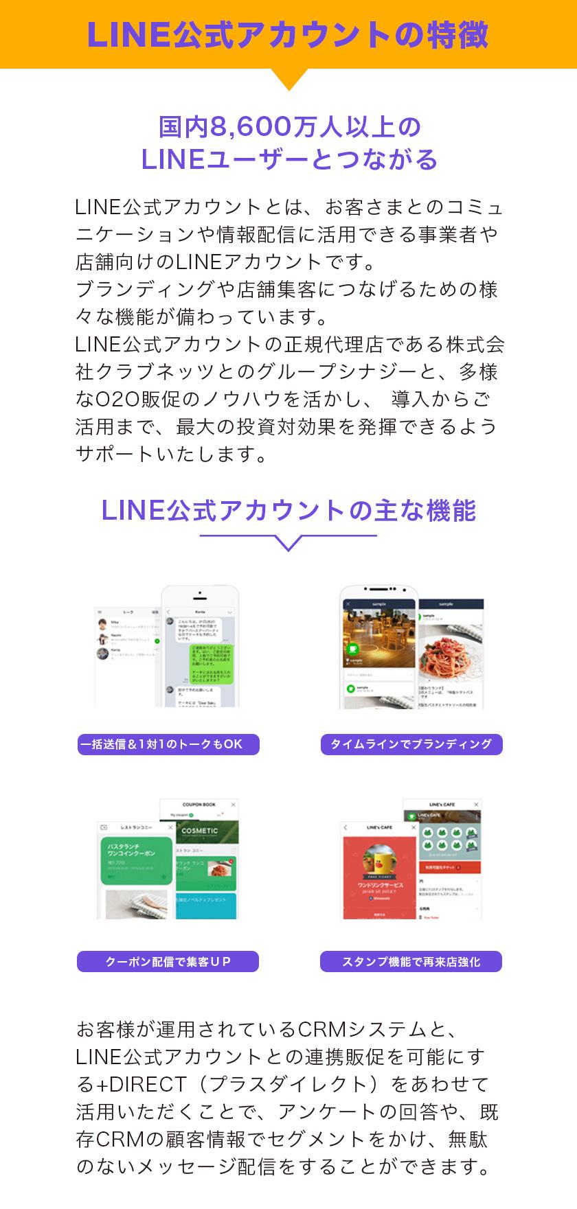 LINE公式アカウントの特徴 国内8,400万人以上の LINEユーザーとつながる 4つの充実した機能